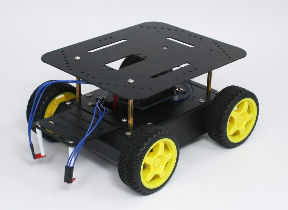 The assembled four wheeled robot chassis