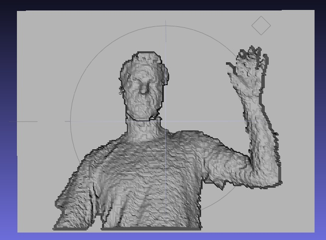 An STL created from the updated version of our scanning sketch showing me waving at the Kinect. You can see how our sketch has connected the edges of my form to the backing plane.