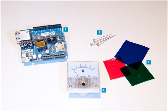 New parts for this chapter: 1. Arduino Ethernet shield—this one has a Power over Ethernet module on board 2. Photocells 3. Red, green, and blue lighting filter gels 4. Voltmeter. You can use an off-the-shelf one, but it's better if you can find one that's antique. Don't forget plenty of male header pins for the breakout boards.