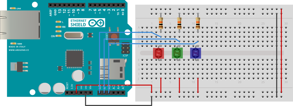 The RGB server circuit. The connections are the same for either the Arduino Ethernet or the Arduino and Ethernet shield combo. Note the three color filters over the photocells.
