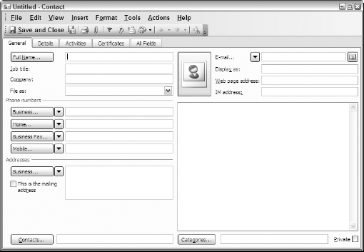 Adding basic information for a new contact using the fields on the General tab of the Outlook 2003 Contact dialog box.