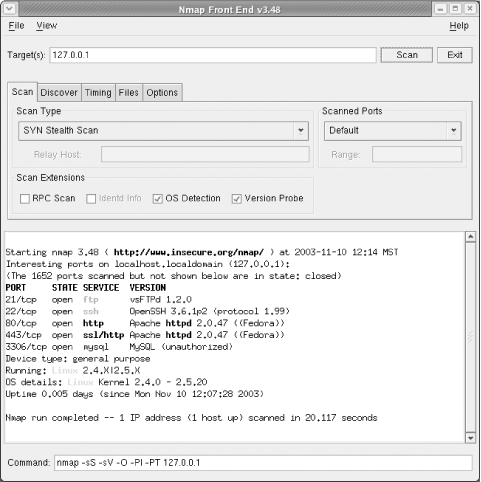 The main interface for the Nmap Front End tool