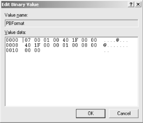 The Edit Binary Value dialog