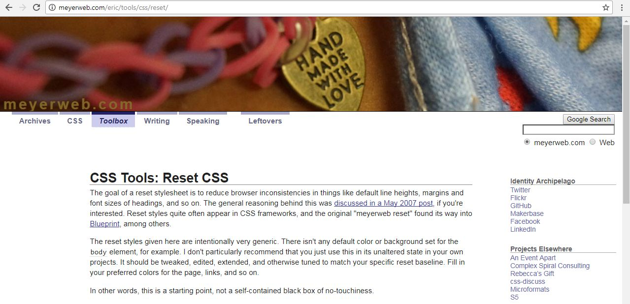 Loading eric meyers css reset mastering css book there are a few different resets to choose from but ive been hooked to the css guru eric meyers reset malvernweather Gallery