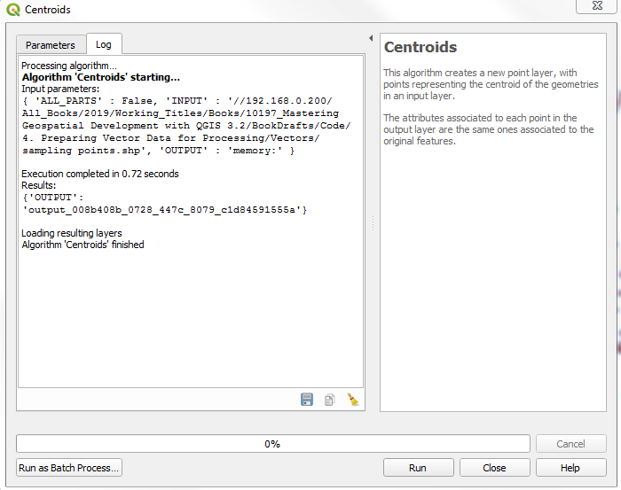 Creating polygon centroids - Mastering Geospatial Development with