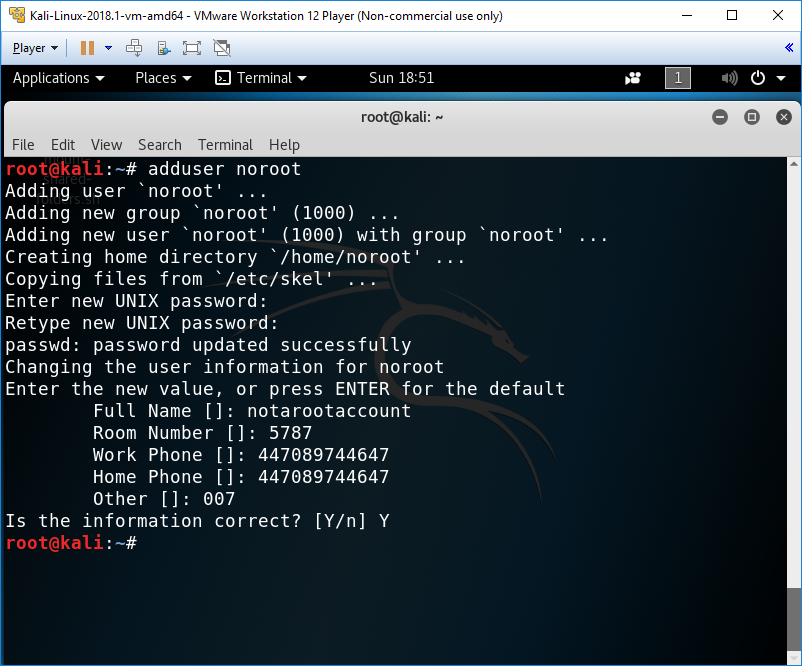 Adding a non-root user - Mastering Kali Linux for Advanced