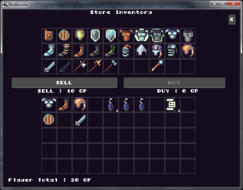 Shop store UI with items and money transactions