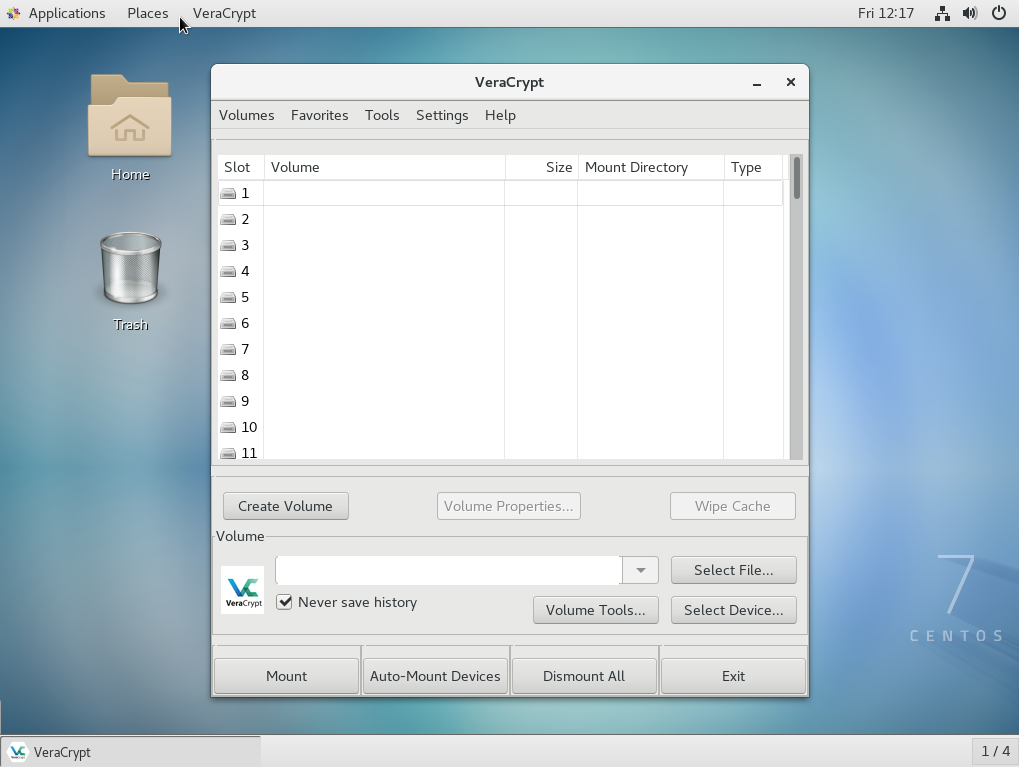 Using VeraCrypt in GUI mode - Mastering Linux Security and Hardening