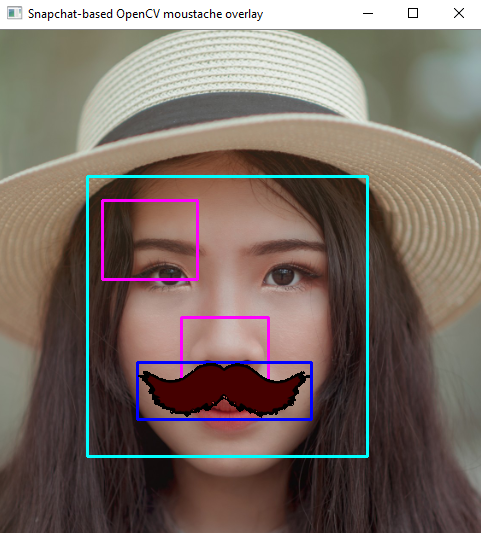 Snapchat-based augmented reality OpenCV moustache overlay
