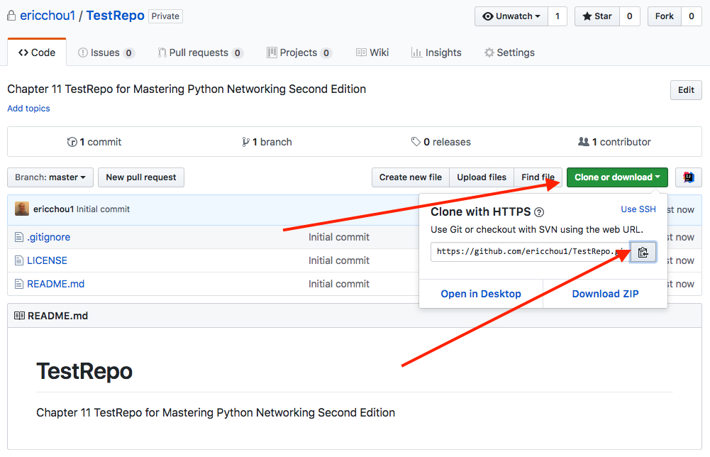 GitHub example - Mastering Python Networking - Second