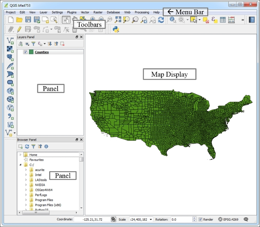 Familiarizing yourself with QGIS Desktop