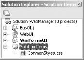Solution items in the Solution Explorer