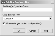 New Solution Configuration dialog box