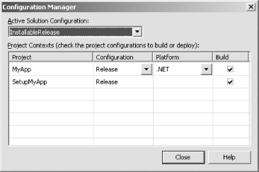 Including a setup project in a configuration