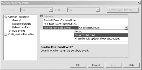 Build Events for C# and J# projects