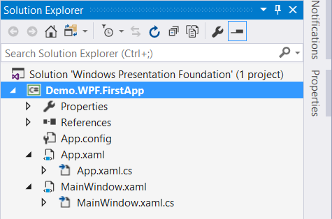 Understanding the WPF project structure - Mastering Visual Studio