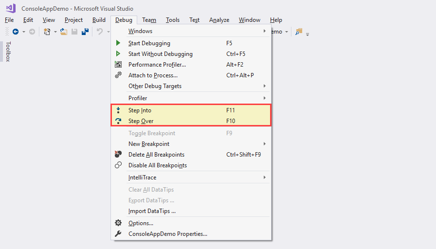 45c5bc4a427 Sometimes you may want to go deep into the method or property to debug the  code. You can do all these things from the Visual Studio Debug menu