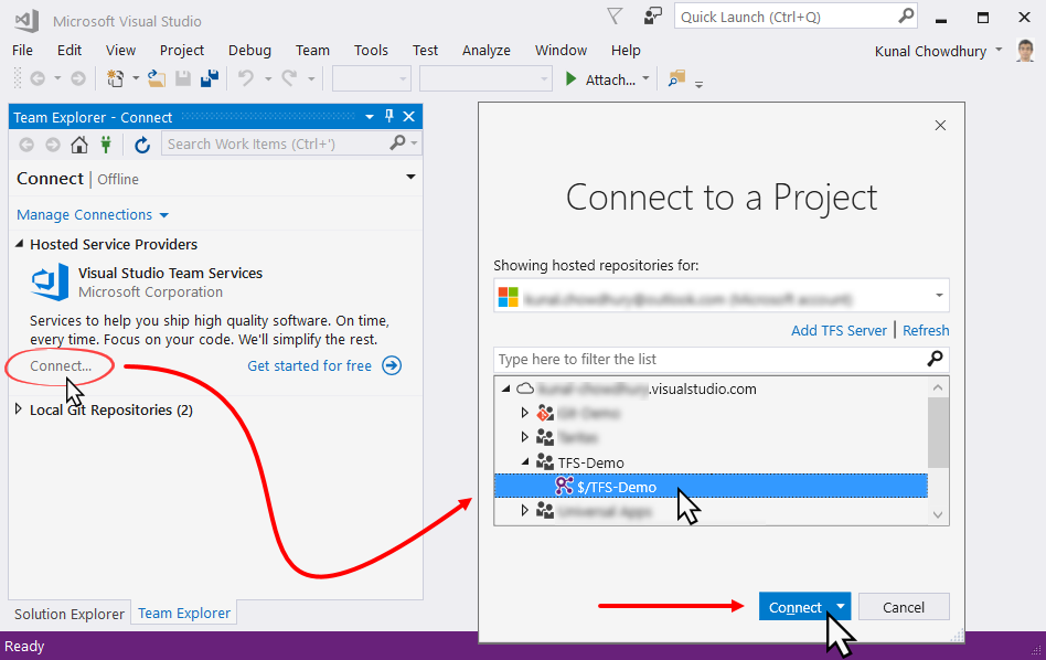 Connecting to a Team Project - Mastering Visual Studio 2017