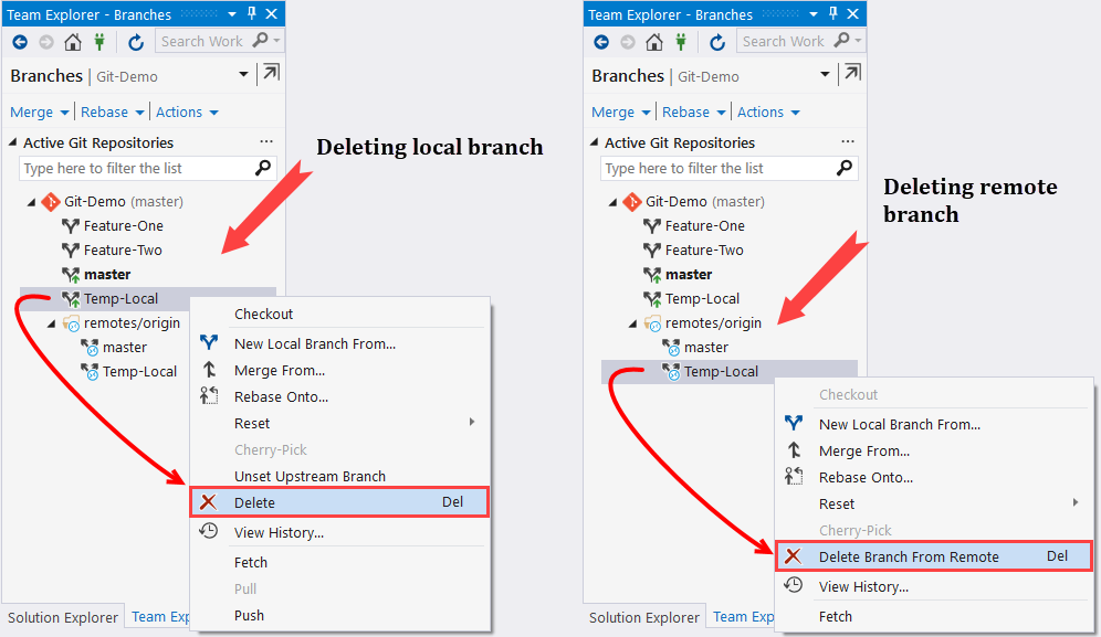 Deleting an existing branch - Mastering Visual Studio 2017 [Book]