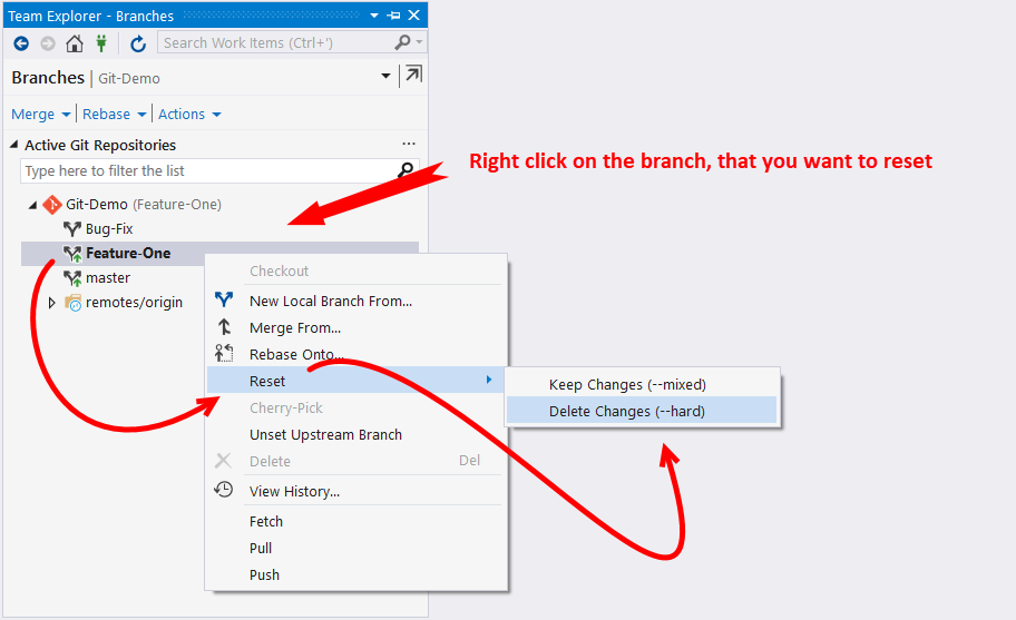 Resetting a local branch to a previous state - Mastering