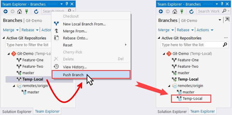 Pushing a local branch to remote - Mastering Visual Studio