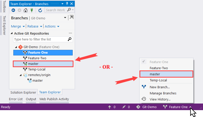 Switching to a different branch - Mastering Visual Studio