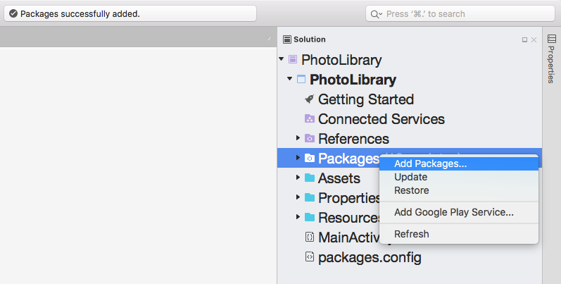 Adding the Xamarin Media Plugin NuGet package to our