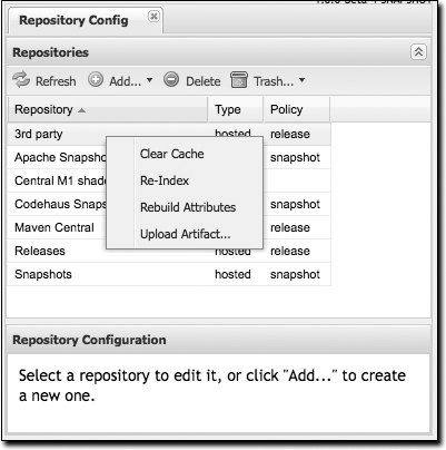 Repository options (right-click on a repository)