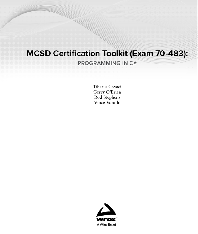 Titlepage Mcsd Certification Toolkit Exam 70 483 Programming In