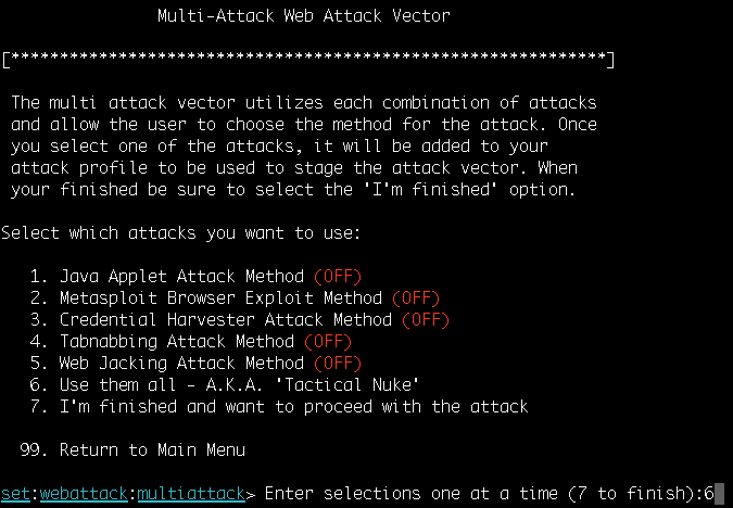 Working with the multi-attack web method - Metasploit