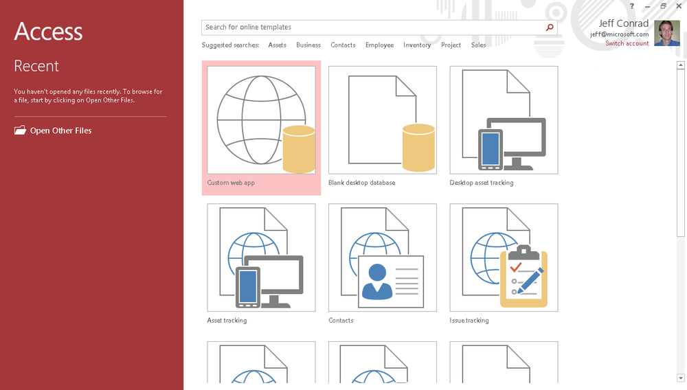 A screen shot of the Office Start screen in Access. This screen contains a list of many web app templates, desktop database templates, and buttons to create blank databases and blank web apps.