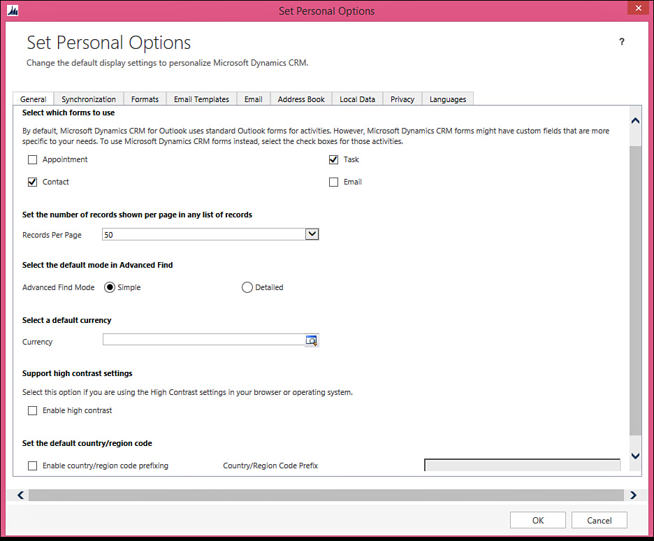 General Options for Both Web and Outlook Clients - Microsoft