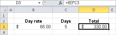 Using cell references to multiply the day rate by days.