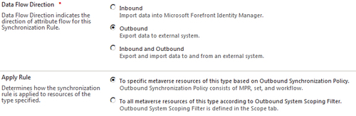 Outbound synchronization rules
