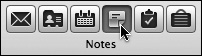 Click the Notes icon in the upper-left corner of the Entourage window to see your Notes list.