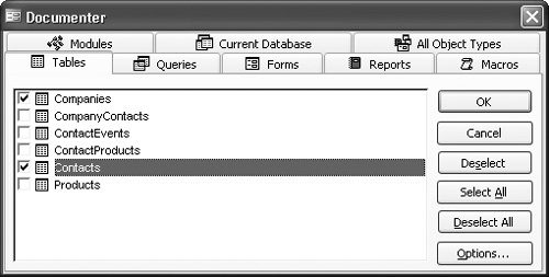 The Documenter dialog box.
