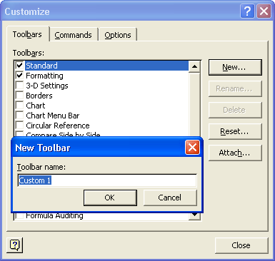 "Start your new toolbar by giving it a concise name—hopefully one more descriptive than ""Custom 1."""