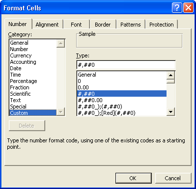 Use the Custom category to create new formats using special codes.