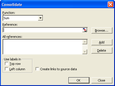 The default function in the Consolidate dialog box is Sum.