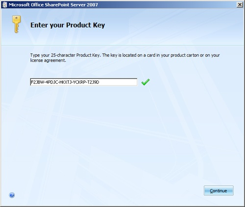 Enter Product Key page