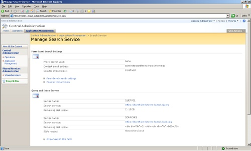 Upper portion of the Manage Search Service page