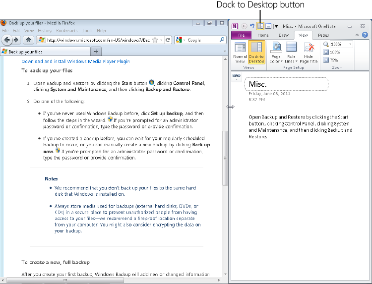 Docking OneNote on the Side of the Screen - Microsoft