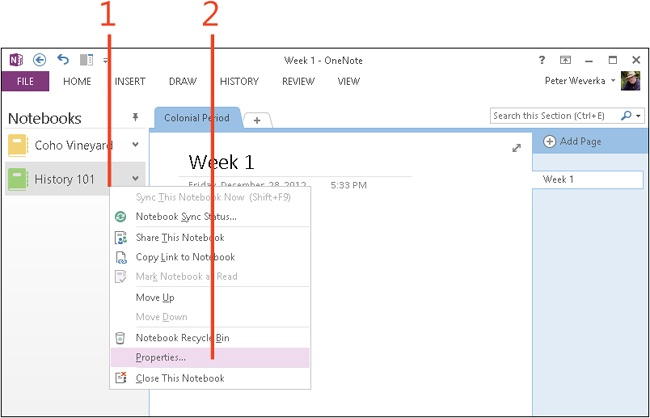 how to change notebook names in onenote