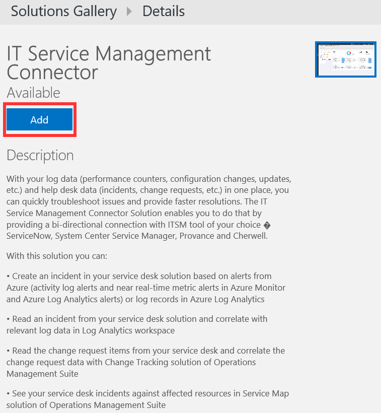Adding the ITSM Connector solution in OMS - Microsoft Operations