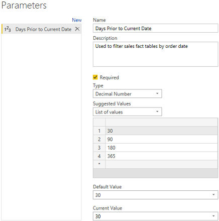 Trailing days query parameter filter - Microsoft Power BI