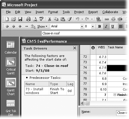 The Task Drivers pane is a newfeature in Project 2007 that shows the factors that control the start date of the selected task. Click its Close button to close it.