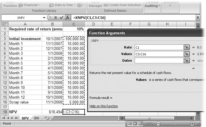 To fill in an argument, click the box, such as Rate. Then, in the worksheet, click the cell (or cells) that contain the input. For example, for Values, you can drag over all the cells that contain the cash flows.