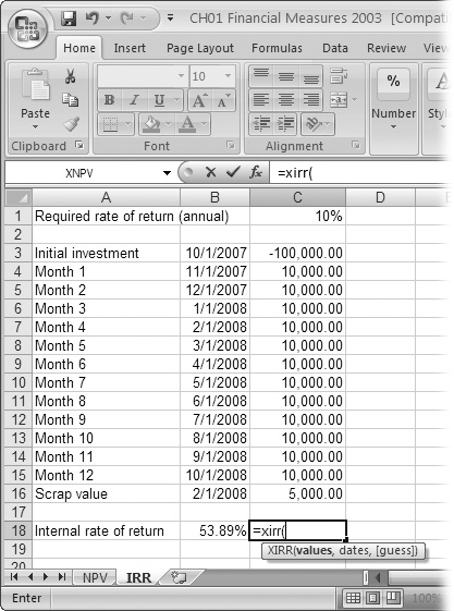 "XIRR includes a third argument called ""guess,"" which is the first return you use in the search for the IRR. If you leave the guess argument blank, Excel uses 10%. Depending on whether the resulting NPV is positive or negative, the XIRR function tries a different value until NPV equals zero."