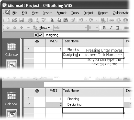 Project creates the next task at the same level in the WBS outline as the previous task, so you're ready to enter the next top-level task. As you'll see shortly, this behavior makes it easy to add several tasks at the same level, no matter which level of the WBS you're creating.