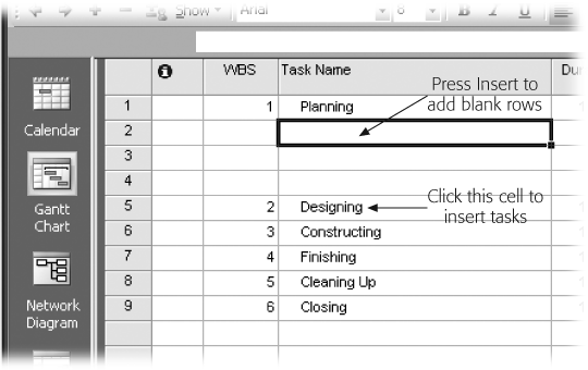 You can insert blank task rows by clicking anywhere in the row below the summary task and pressing Insert. But if you click the Task Name cell, when you press Insert the blank task's Task Name cell becomes the active cell—ready for you to type the name of the first subtask.